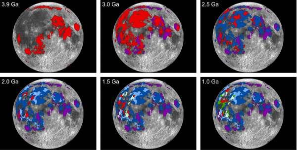 Una sequenza temporale delle pianure lunari di lava (mari), visti ogni 0,5 miliardi di anni. Le aree rosse indicano le ultime eruzioni.