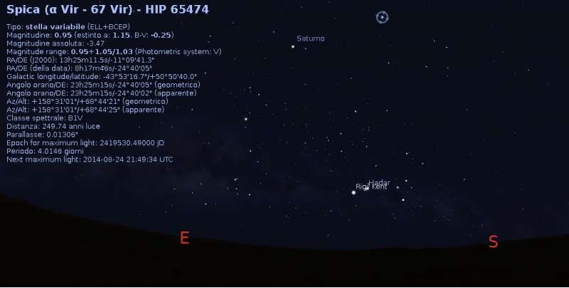 Curiosity Sol 727 ChenCam Spica - Stellarium