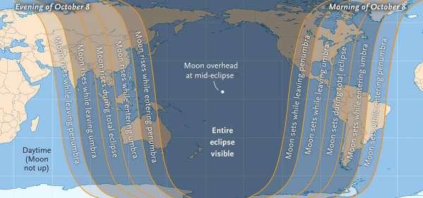 Eclissi 8 ottobre mappa