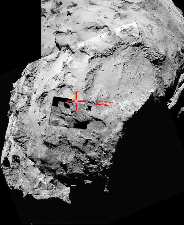 Philae: scena dell'atterraggio