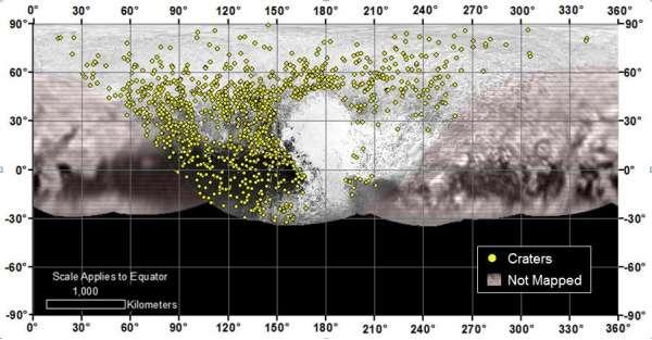 Plutone - mappa dei crateri