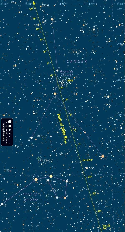 2004 BL86 carta del cielo