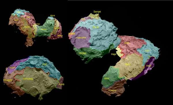 Le regioni della cometa 67p prendono il nome dalle divinità egizie e sono raggruppate in base al tipo di terreno dominante.