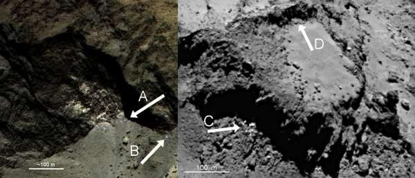 67P: depositi di ghiaccio in superficie