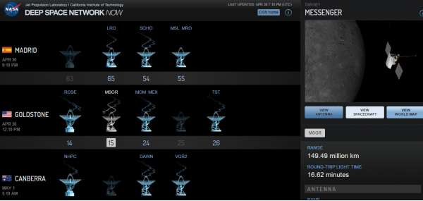 MESSENGER: ultimi segnali ricevuti dal DSN