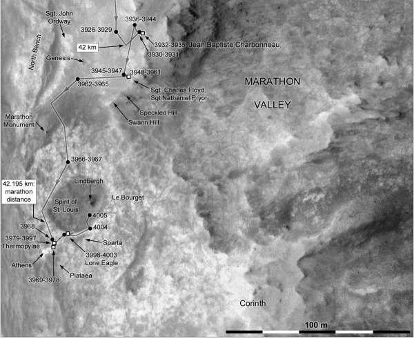 Opportunity mappa aggiornata al sol 4004