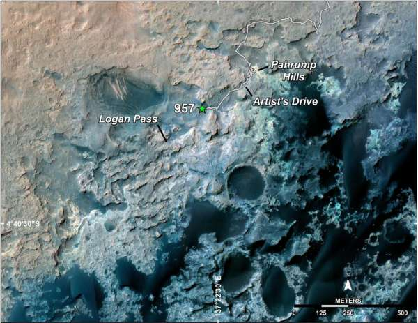 Curiosity - traverse map sol 957