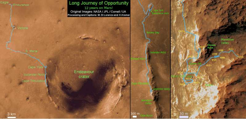 Opportunity route map aggiornata al sol 4230