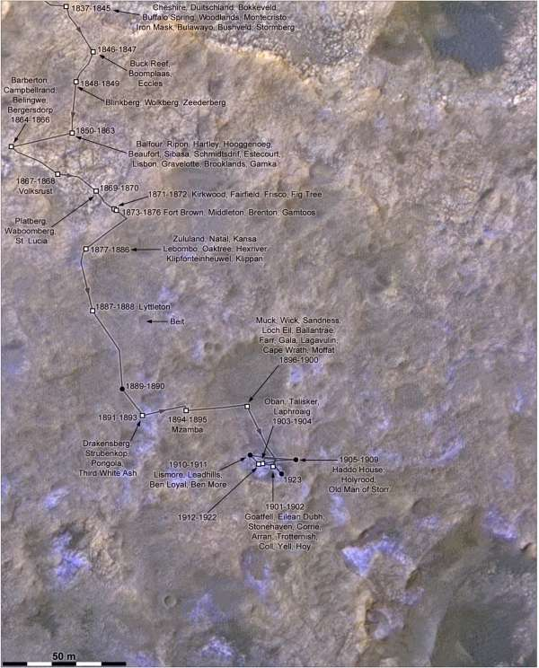Un dettaglio della traversata di Curiosity sol 1837 - 1910