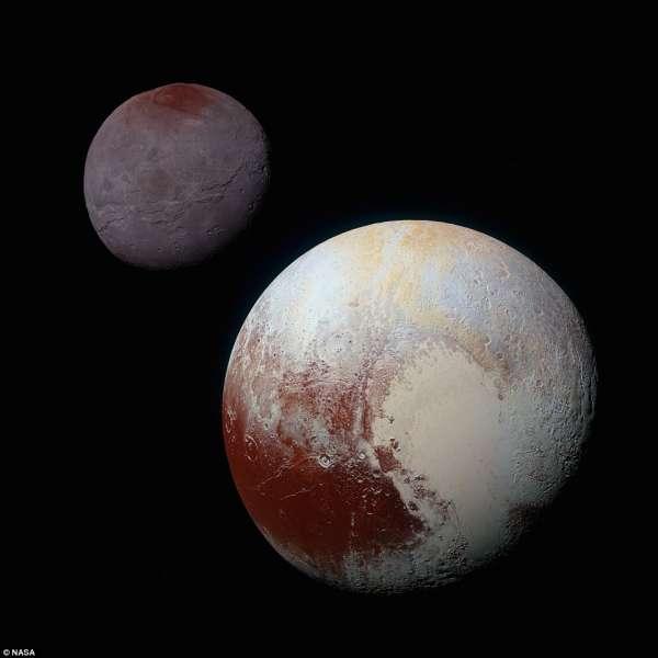 Elaborazione in falsi colori di Plutone e Caronte, posti in scala