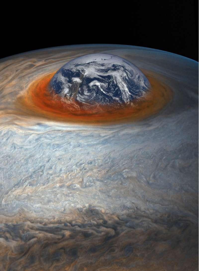 La Terra, in scala, divorata dalla Grande Macchia Rossa