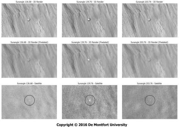 Immagini reali e viste simulate di Beagle-2