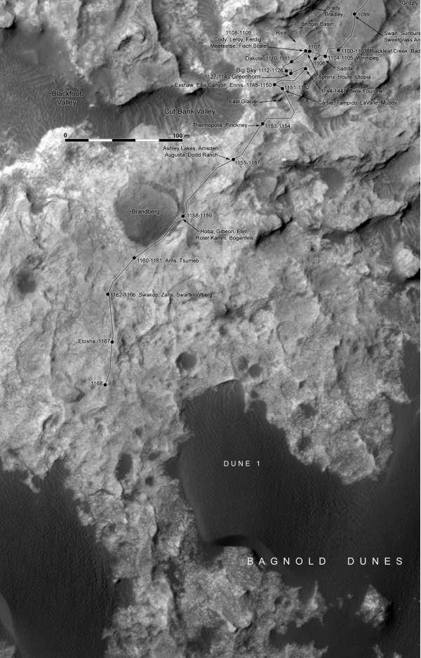 Curiosity: route map aggiornata al sol 1168