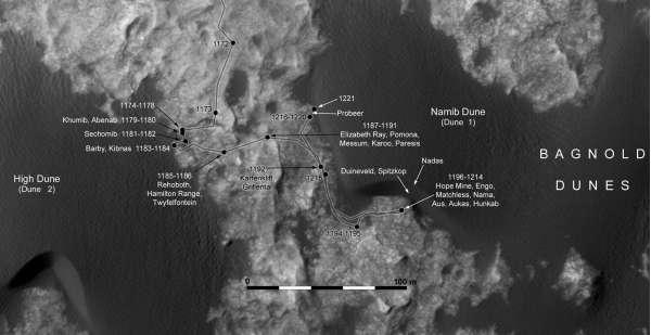 Curiosity - route map aggiornata al sol 1221