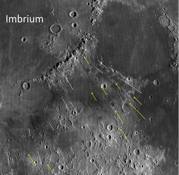 Mare Imbrium: solchi lasciati da grandi massi durante l'impatto
