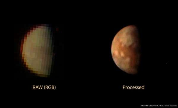 Immagine raw di Io prima e dopo il processing