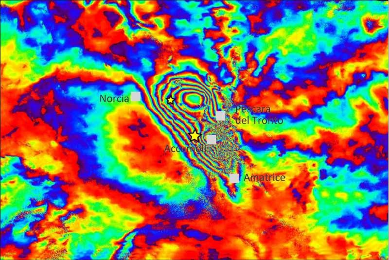 Terremoto centro Italia: deformazione del suolo