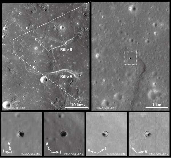 """I buchi delle """"Colline di Marius"""" ripresi dalle fotocamere della sonda SELENE / Kaguya"""