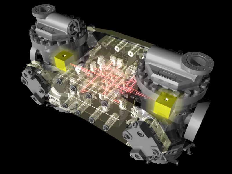 LISA Pathfinder - rappresentazione della sezione scientifica con le due masse di prova e l'interferometro laser.