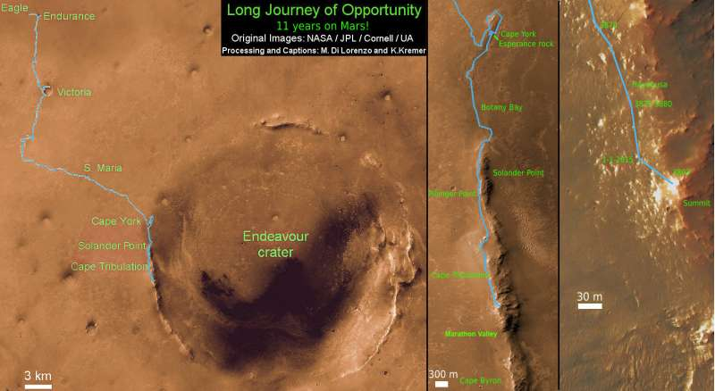 Opportunity Route Map Sol 3894