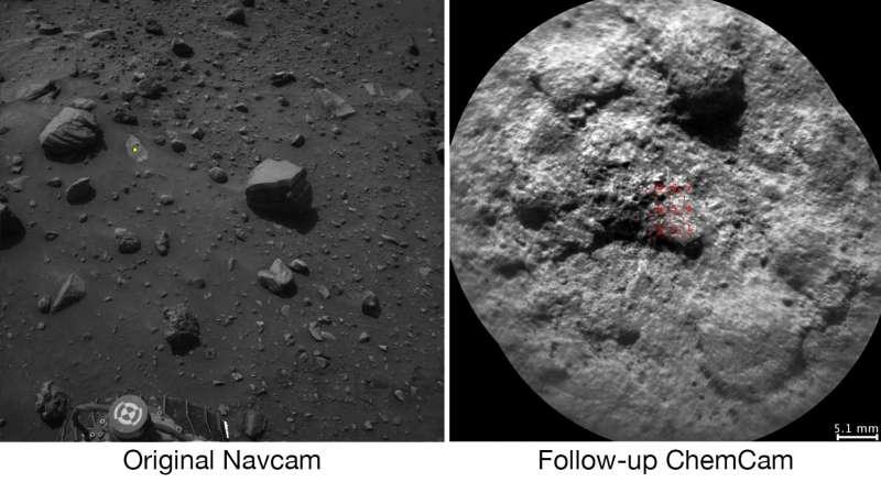 Bersaglio selezionato autonomamente da Curiosity con AEGIS