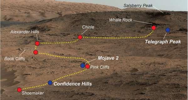 Posizione dei primi quattro campioni di terreno marziano prelevati da Curiosity