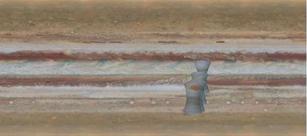Le quattro immagine della Grande Macchia Rossa ottenute dai dati di Juno, sovrapposte ad una porzione della mappa di Giove.