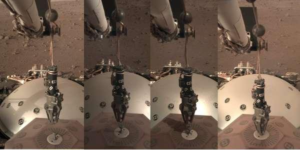 Sequenza di immagini riprese dalla IDC durante il sol 20 nel momento in cui il sismografo SEIS viene posato sul suolo marziano.