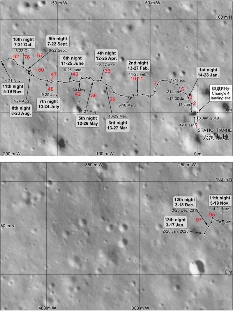 YUTU posizione sul lato lontano della Luna al tredicesimo giorno lunare