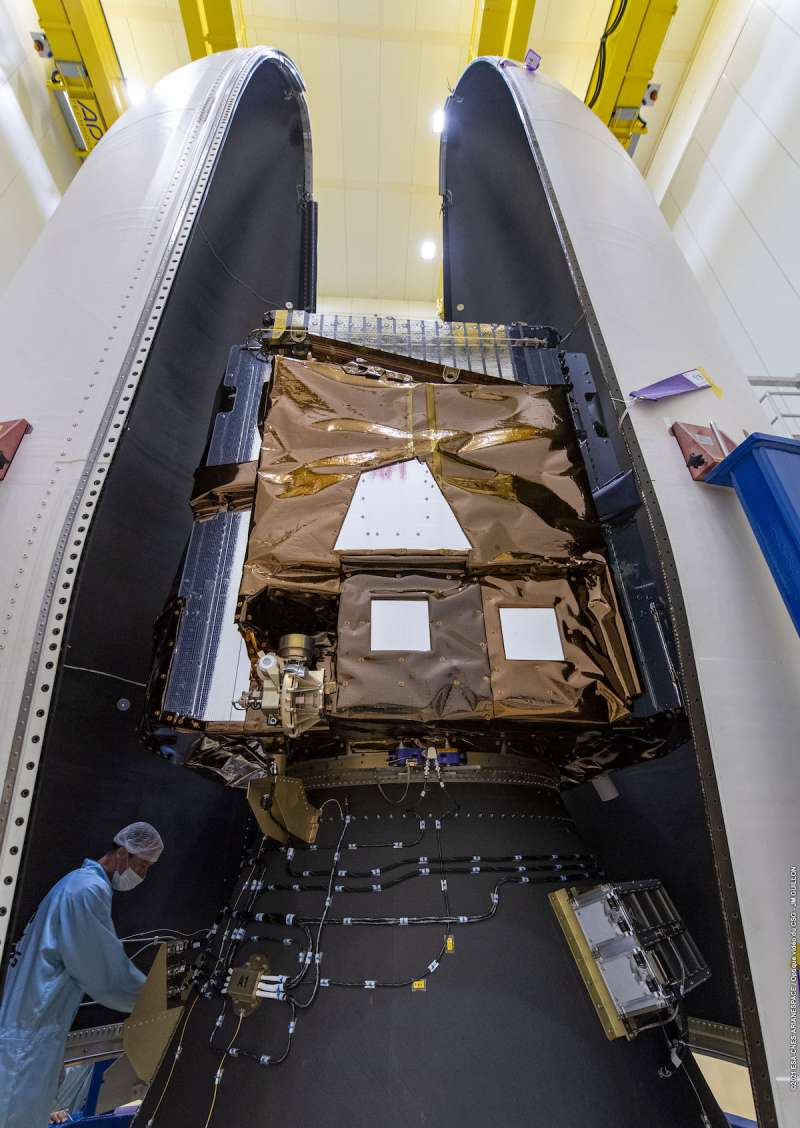 arianespace vv19 payloads stowed in vega fairing