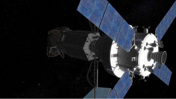 Nell'illustrazione artistica (Credit: NASA) il veicolo con equipaggio Orion, in orbita lunare, attracca al veicolo che ha catturato il macigno.