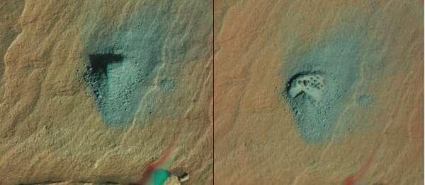 La polvere del campione Big Sky, scaricata dal rover prima della perforazione su Greenhorn