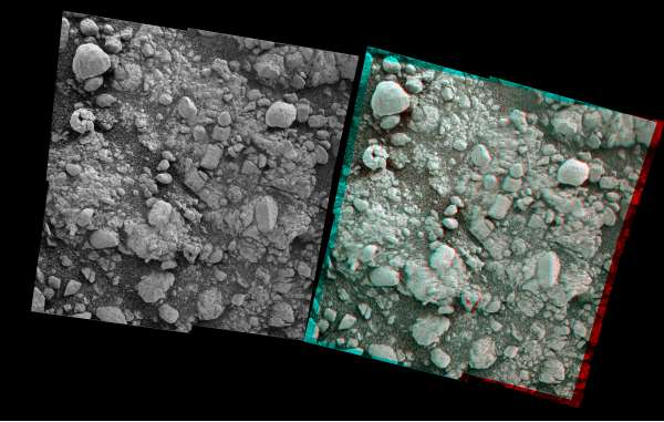 Opportunity Microscopic Imager Sol 4194 mosaico ed anaglifo