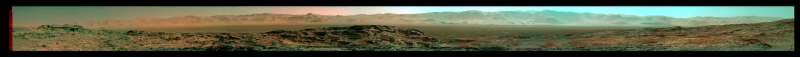 Il bordo del cratere Gale - anaglifo