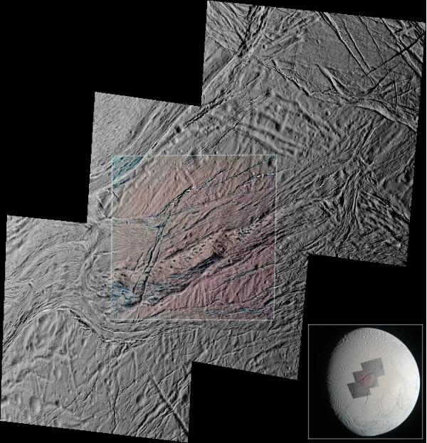 Enceladus  E-22 flyby December 19, 2015 (grn mosaic and ir3 grn uv3 detail) - Samarkand Sulci