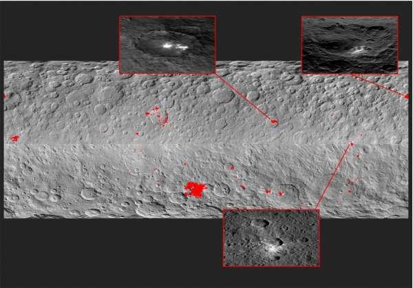 Mappa dei 130 punti luminosi individuati su Cerere. Nel riquadro in alto a sinistra, il cratere Occator.