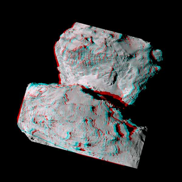 67P anaglyph ESA Rosetta OSIRIS Narrow Angle Camera 7 August 2014
