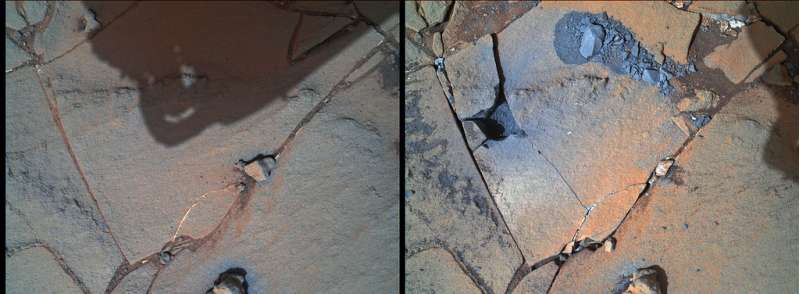Curiosity MAHLI sol 867 prima e dopo il mini-drill