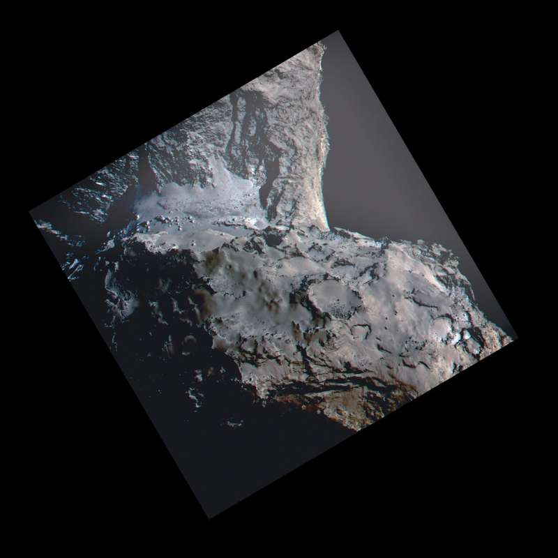 OSIRIS (Rosetta) - 67P 21 August 2014 anaglyph (three bands at 989, 700, and 480 nm)