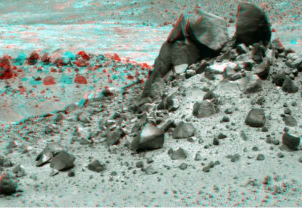 Opportunity Panoramic Camera Sol 4005 anaglyph