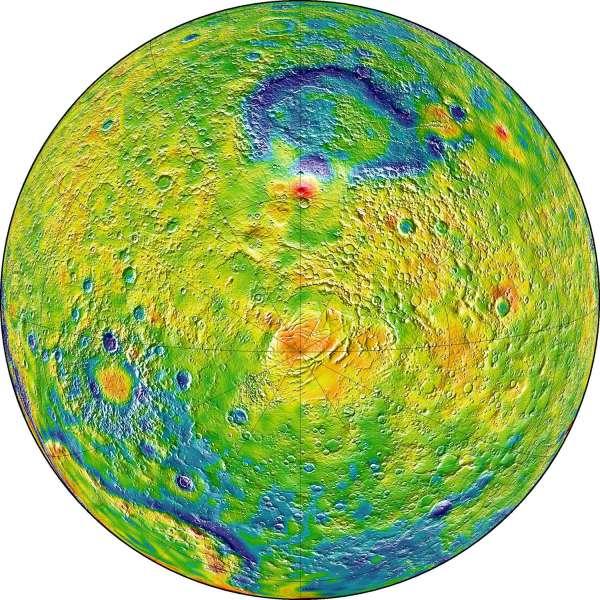 Mappa della gravità di Marte - emisfero sud