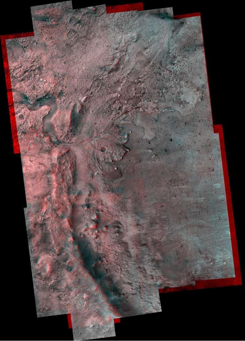 cratere Jezero anaglifo