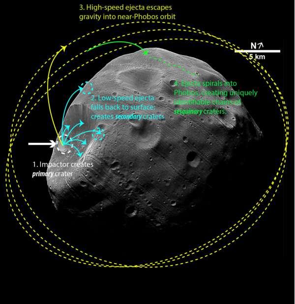 Fobos: simulazione dell'orbita dei detriti causati da un impatto