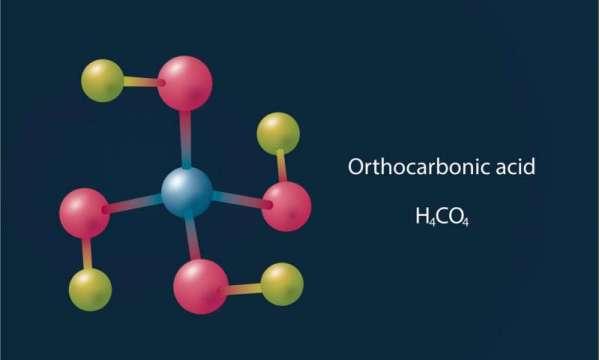 Struttura molecolare dell'acido ortocarbonico, noto anche come acido di Hitler.