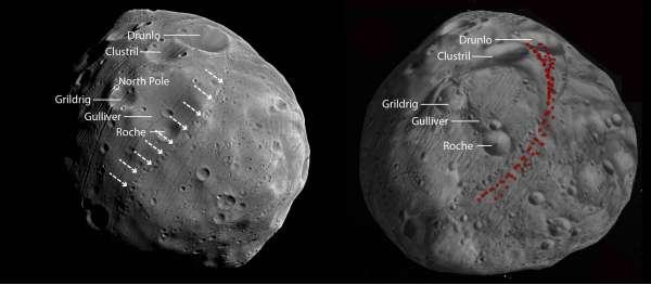 Topografia di Fobos a sinistra corrispondente al modello ottenuto in simulazione a destra.