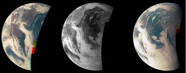 Tre viste della Terra riprese dalla JunoCam a bordo di Juno durante il fly-by del 9 ottobre 2013