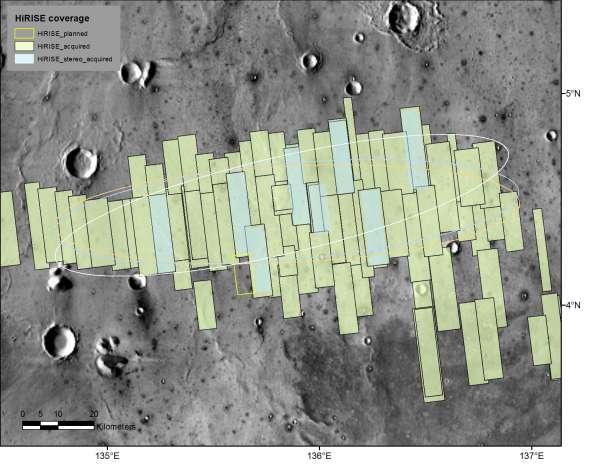 Le immagini riprese dalla fotocamera HiRISE nella zona di atterraggio della missione InSight