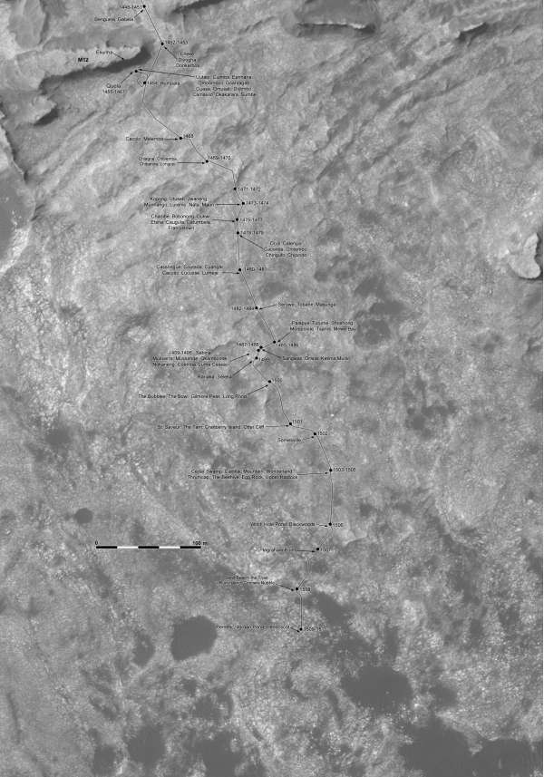 Curiosity route map sol 1509