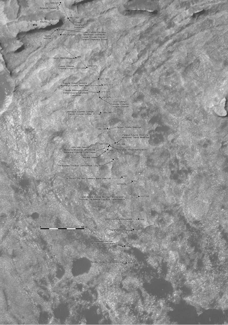 Curiosity route map sol 1509