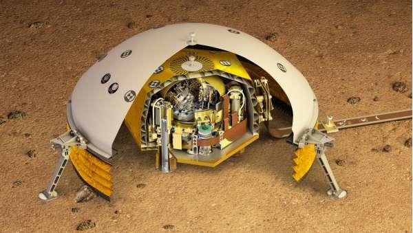 Una vista sezionata di SEIS, posato sulla superficie di Marte
